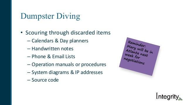 Dumpster Diving • Scouringthroughdiscardeditems – Calendars&Dayplanners – Handwrittennotes – Phone&EmailLists – ...