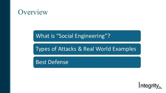 """Overview Whatis""""SocialEngineering""""? TypesofAttacks&RealWorldExamples BestDefense"""