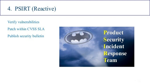 ISSA Cyber Security Conference 4 2016 Intel Public 22 4. PSIRT (Reactive) Verify vulnerabilities Patch within CVSS SLA Pub...