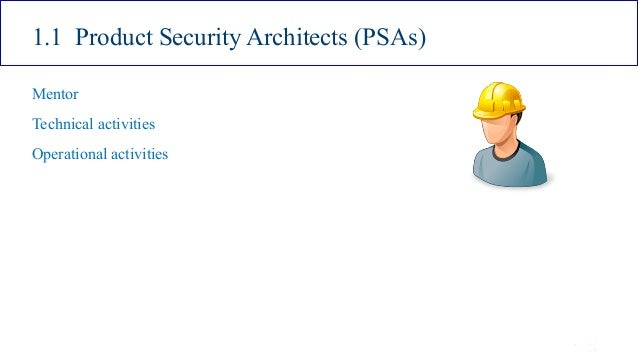 ISSA Cyber Security Conference 4 2016 Intel Public 7 1.1 Product Security Architects (PSAs) Mentor Technical activities Op...