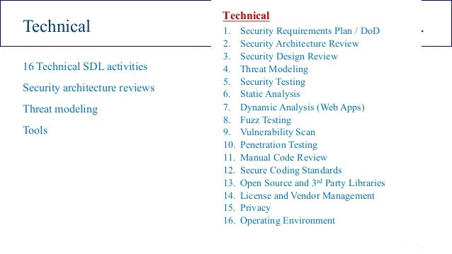 ISSA Cyber Security Conference 4 2016 Intel Public 9 Technical . 16 Technical SDL activities Security architecture reviews...