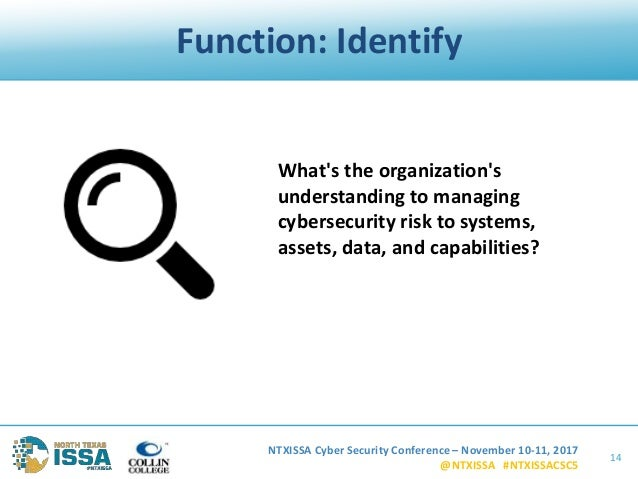 NTXISSA Cyber Security Conference – November 10-11, 2017 @NTXISSA #NTXISSACSC5 Function: Identify 14 What's the organizati...