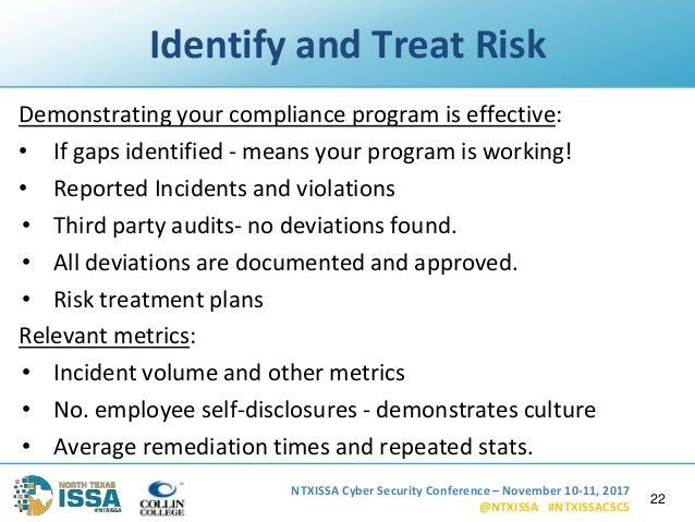 NTXISSA Cyber Security Conference – November 10-11, 2017 @NTXISSA #NTXISSACSC5 Identify and Treat Risk Demonstrating your ...