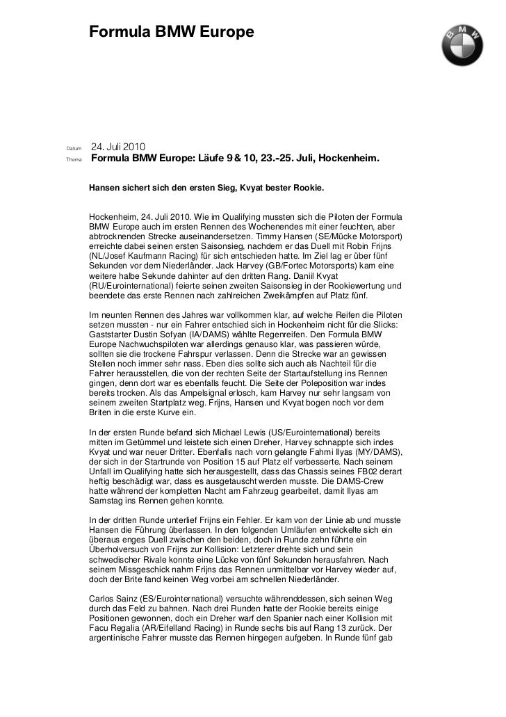 Formula BMW EuropeDatum   24. Juli 2010Thema   Formula BMW Europe: Läufe 9 & 10, 23.-25. Juli, Hockenheim.        Hansen s...
