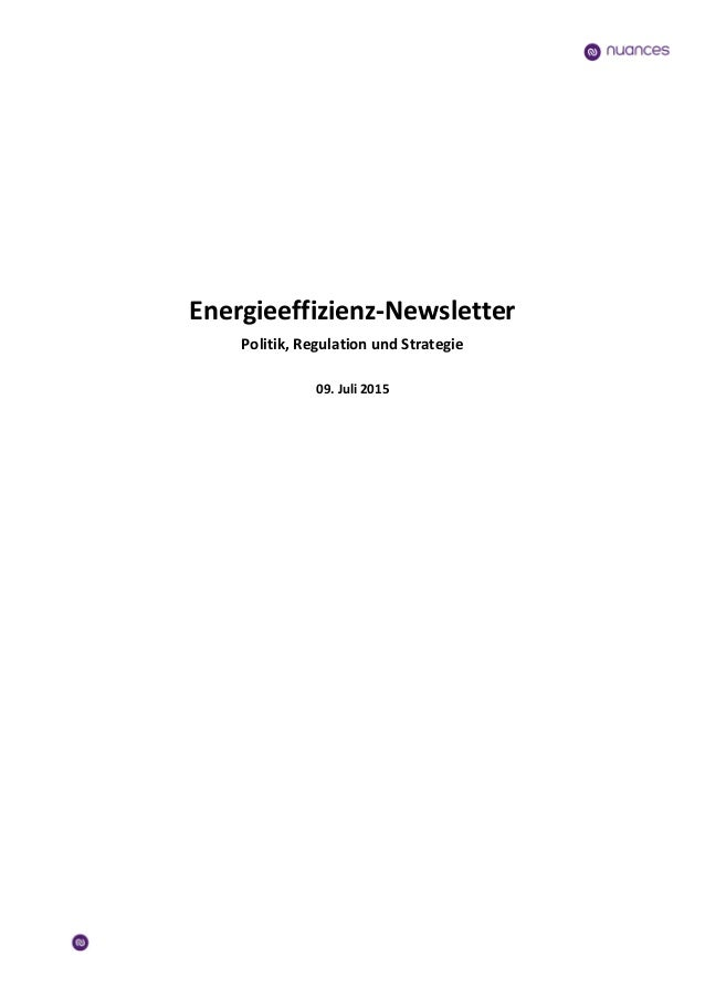 Energieeffizienz-Newsletter Politik, Regulation und Strategie 09. Juli 2015