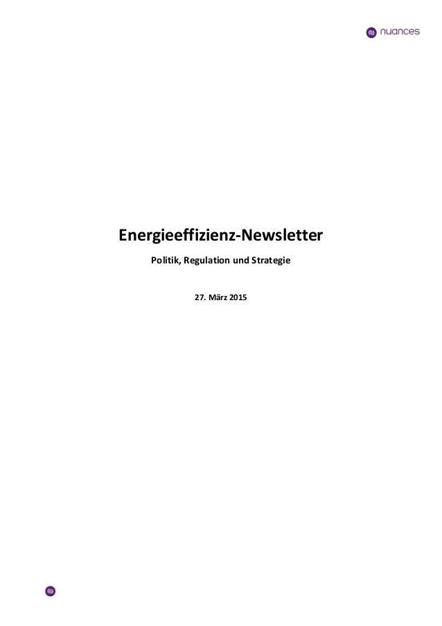 Energieeffizienz-Newsletter Politik, Regulation und Strategie 27. März 2015