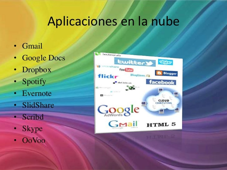 Aplicaciones en la nube•   Gmail•   Google Docs•   Dropbox•   Spotify•   Evernote•   SlidShare•   Scribd•   Skype•   OoVoo