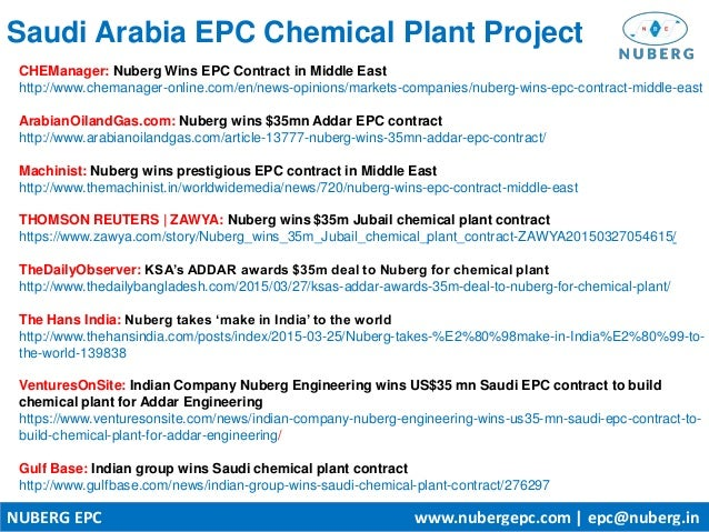 Nuberg Wins $35m EPC Contract for Saudi Arabia Chemical Plant