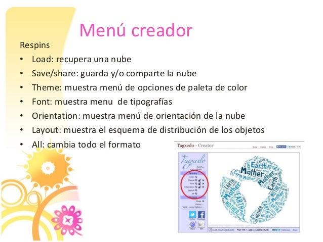 Menú creador Respins • Load: recupera una nube • Save/share: guarda y/o comparte la nube • Theme: muestra menú de opciones...