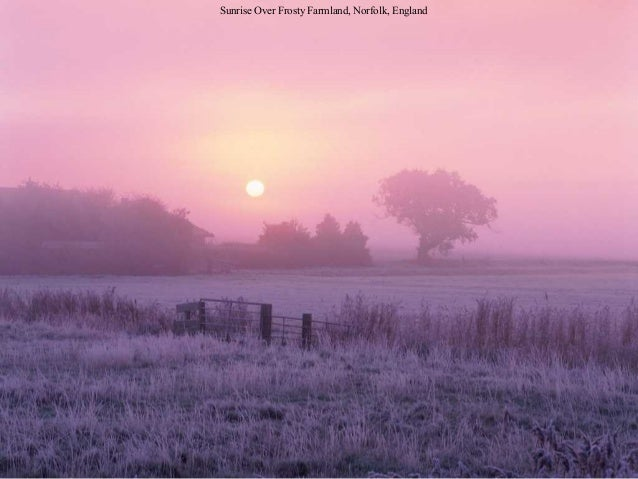 Sunrise Over Frosty Farmland, Norfolk, England