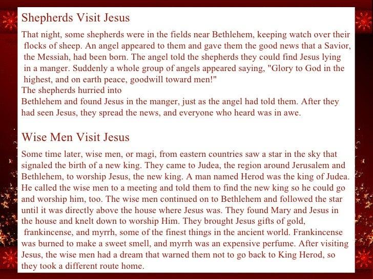 Shepherds Visit Jesus   That night, some shepherds were in the fields near Bethlehem, keeping watch overtheir flocks of ...