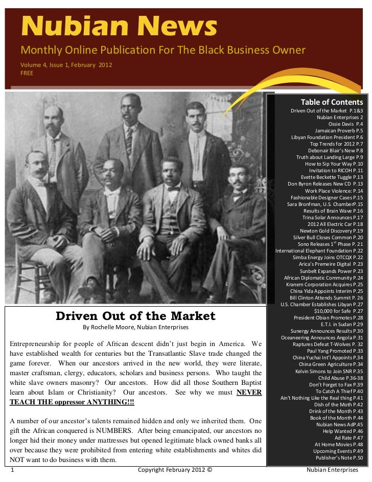 `    Nubian News    Monthly Online Publication For The Black Business Owner    Volume 4, Issue 1, February 2012    FREE   ...