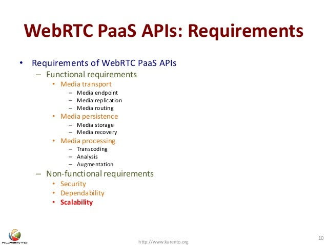 WebRTC PaaS APIs: Requirements • Requirements of WebRTC PaaS APIs – Functional requirements • Media transport – Media endp...