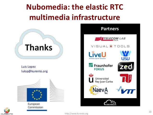 Nubomedia: the elastic RTC multimedia infrastructure http://www.kurento.org 33 Thanks Partners Luis Lopez lulop@kurento.org