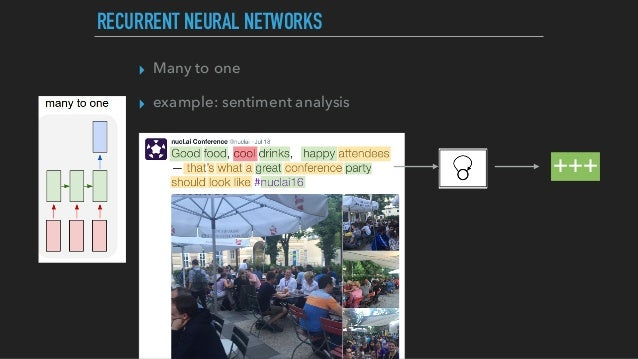 ▸ Many to one ▸ example: sentiment analysis RECURRENT NEURAL NETWORKS +++