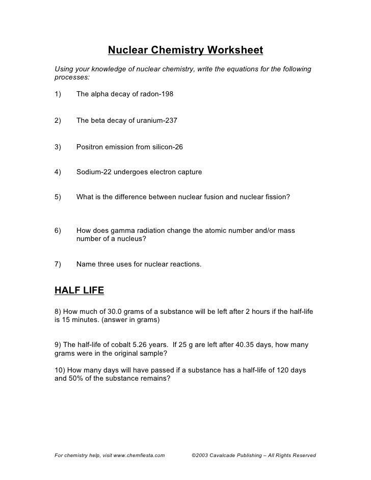 earth science half life worksheet
