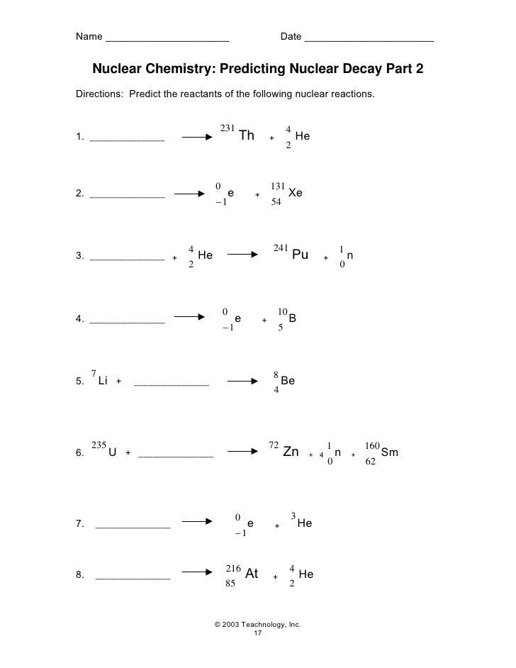 Worksheets Nuclear Chemistry Worksheet nuclear decay