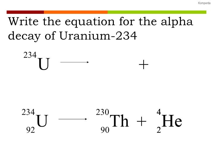 What is the nuclear equation for uranium-238 after alpha radiation is emitted?