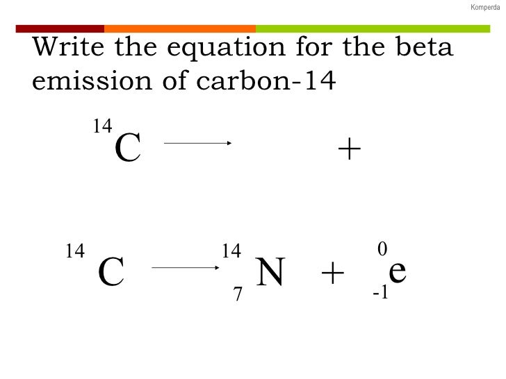 write a nuclear equation for the beta decay of the following isotopes carbon-14