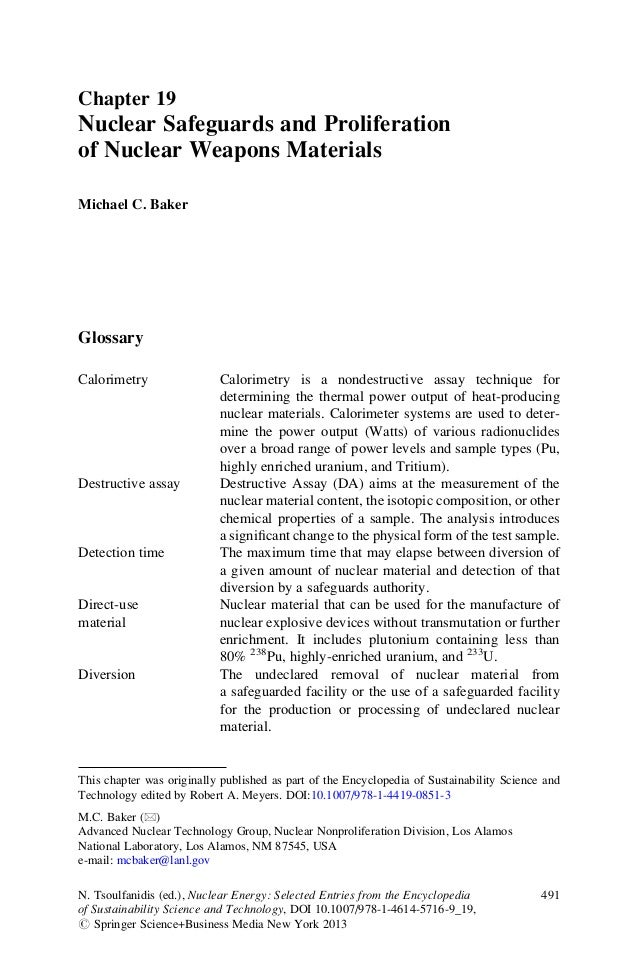 Chapter 19 Nuclear Safeguards and Proliferation of Nuclear Weapons Materials Michael C. Baker Glossary Calorimetry Calorim...