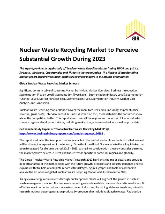 Nuclear Waste Recycling Market Revenue Growth Predicted by