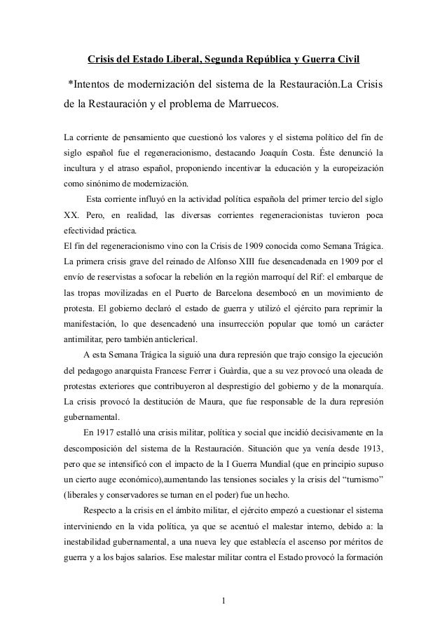 Crisis del Estado Liberal, Segunda República y Guerra Civil  *Intentos de modernización del sistema de la Restauración.La ...