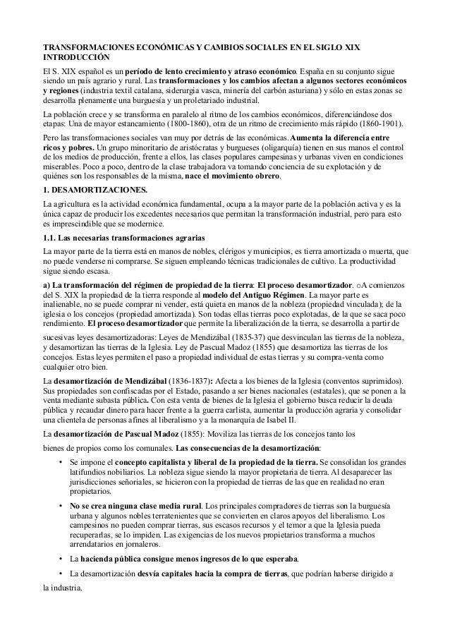 TRANSFORMACIONES ECONÓMICAS Y CAMBIOS SOCIALES EN EL SIGLO XIXINTRODUCCIÓNEl S. XIX español es un período de lento cre...