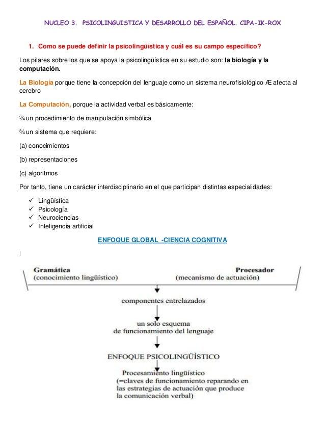 NUCLEO 3. PSICOLINGUISTICA Y DESARROLLO DEL ESPAÑOL. CIPA-IK-ROX1. Como se puede definir la psicolingüística y cuál es su ...
