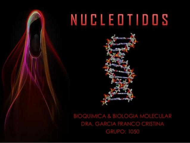 BIOQUIMICA & BIOLOGIA MOLECULAR   DRA. GARCIA FRANCO CRISTINA           GRUPO: 1050
