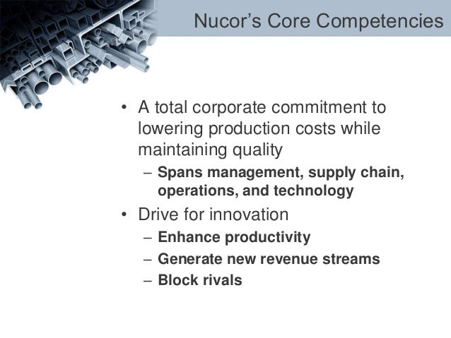 core competencies of nucor The purpose of the framework is to provide health care professionals working in stroke with a clear, comprehensive way to achieve the core competencies needed for evidence based stroke care for each competency, there are a number of learning objectives, recommended learning resources/knowledge translation tools and suggested evaluation methods.