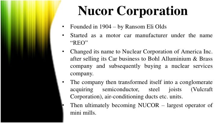 nucor corporation case study solution Nucor steel case solution, nucor steel case solution capabilities: nucor's qualities incorporate most elevated efficiency, least cost structure and a high benefit (30 years.