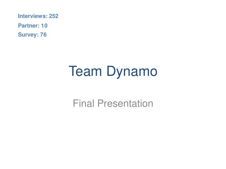 Interviews: 252Partner: 10Survey: 76                  Team Dynamo                  Final Presentation