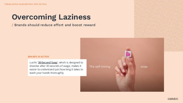 Overcoming Laziness / Brands should reduce effort and boost reward Lush's '30-Second Soap', which is designed to dissolve ...