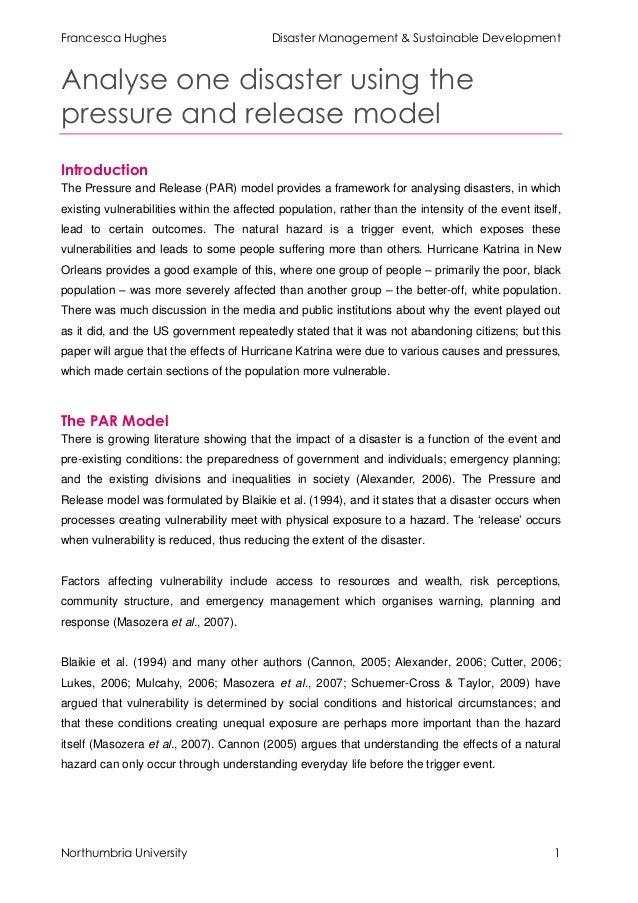 Francesca Hughes                           Disaster Management & Sustainable DevelopmentAnalyse one disaster using thepres...