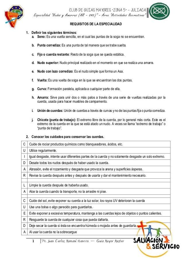"""CLUB DE GUÍAS MAYORES """"ZONA 5"""" – JULIACA Especialidad """"Nudos y Amarras (AR – 040)"""" – Área """"Actividades Recreativas"""" 1 Pr. ..."""