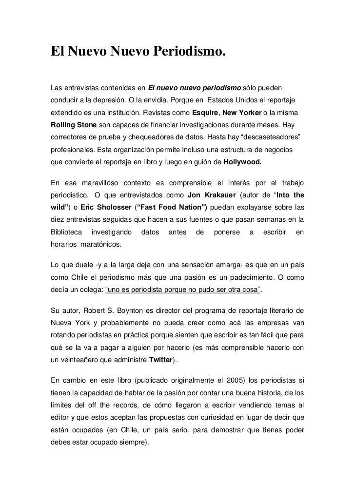 El Nuevo Nuevo Periodismo.<br />Las entrevistas contenidas en El nuevo nuevo periodismo sólo pueden conducir a la depresió...