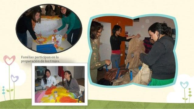 Familias participan en la preparación de los trajes.