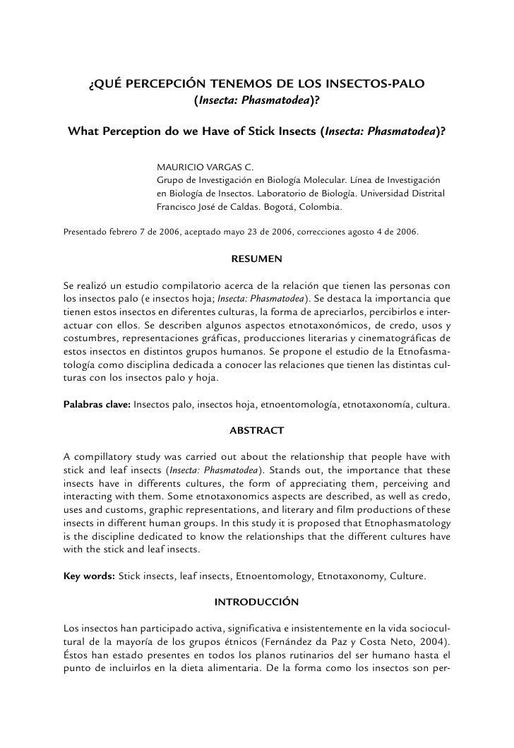 ¿QUÉ PERCEPCIÓN TENEMOS DE LOS INSECTOS-PALO                     (Insecta: Phasmatodea)?   What Perception do we Have of S...