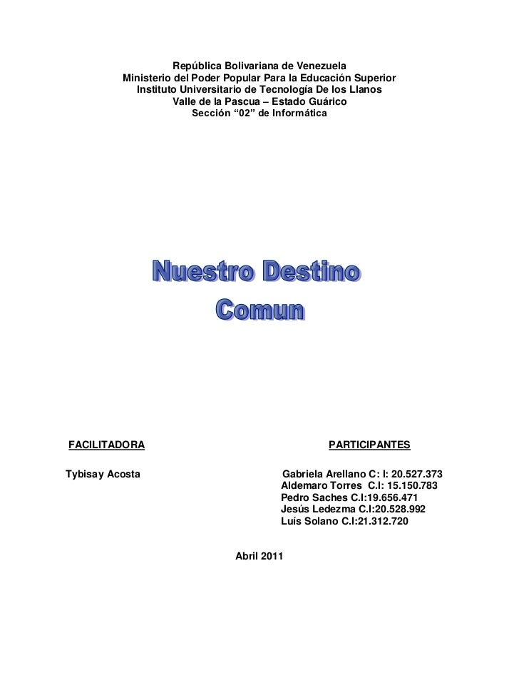 República Bolivariana de Venezuela          Ministerio del Poder Popular Para la Educación Superior            Instituto U...