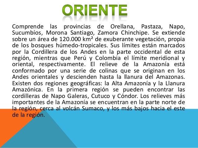 Comprende las provincias de Orellana, Pastaza, Napo, Sucumbíos, Morona Santiago, Zamora Chinchipe. Se extiende sobre un ár...