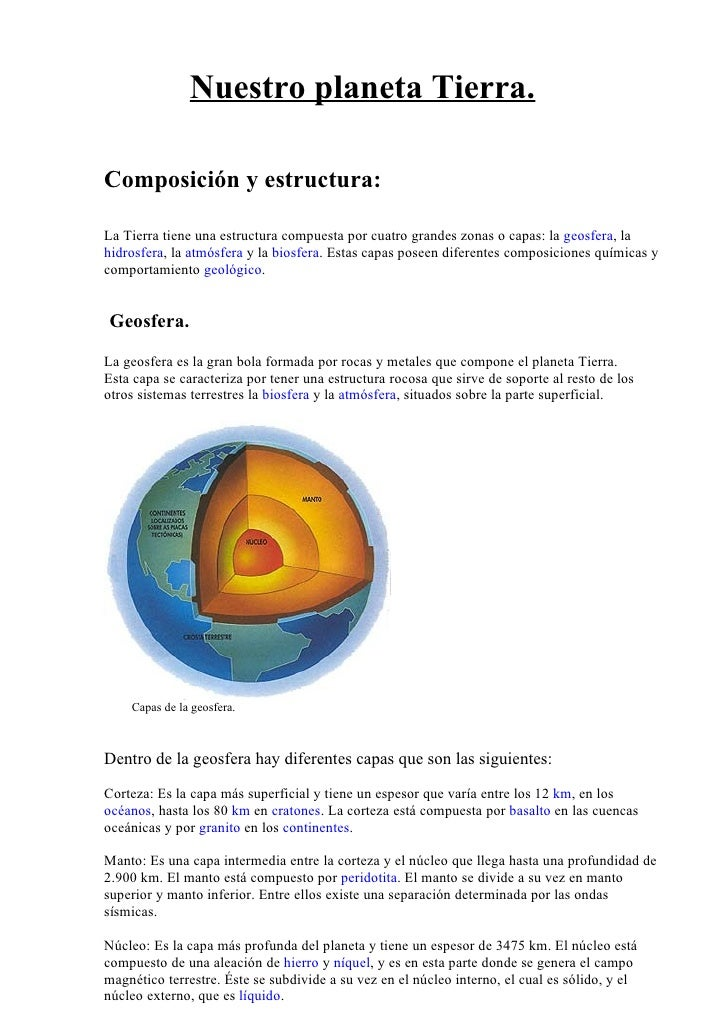 Nuestro planeta Tierra.  Composición y estructura:  La Tierra tiene una estructura compuesta por cuatro grandes zonas o ca...