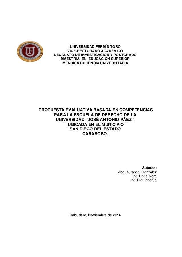 UNIVERSIDAD FERMÍN TORO  VICE-RECTORADO ACADÉMICO  DECANATO DE INVESTIGACIÓN Y POSTGRADO  MAESTRÍA EN EDUCACION SUPERIOR  ...
