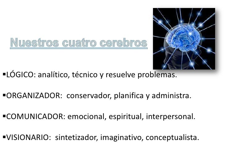 LÓGICO: analítico, técnico y resuelve problemas.ORGANIZADOR: conservador, planifica y administra.COMUNICADOR: emocional...