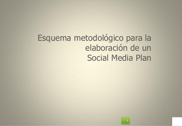 1Esquema metodológico para laelaboración de unSocial Media Plan