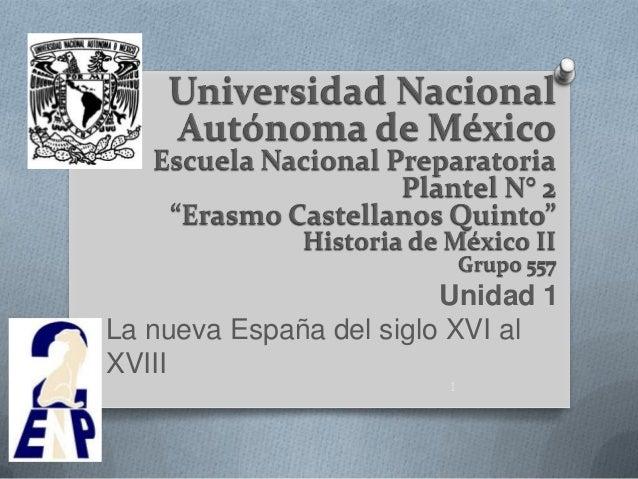 Unidad 1La nueva España del siglo XVI alXVIII                         1