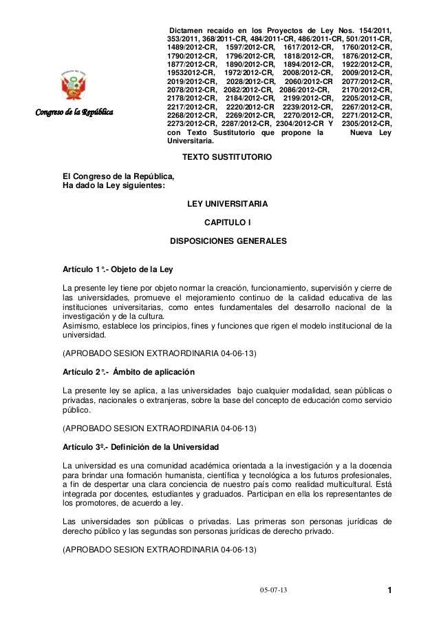 Dictamen recaído en los Proyectos de Ley Nos. 154/2011, 353/2011, 368/2011-CR, 484/2011-CR, 486/2011-CR, 501/2011-CR, 1489...