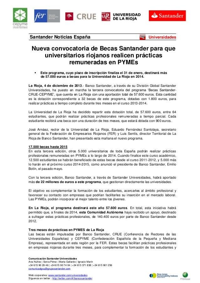 Santander Noticias España  Universidades  Nueva convocatoria de Becas Santander para que universitarios riojanos realicen ...