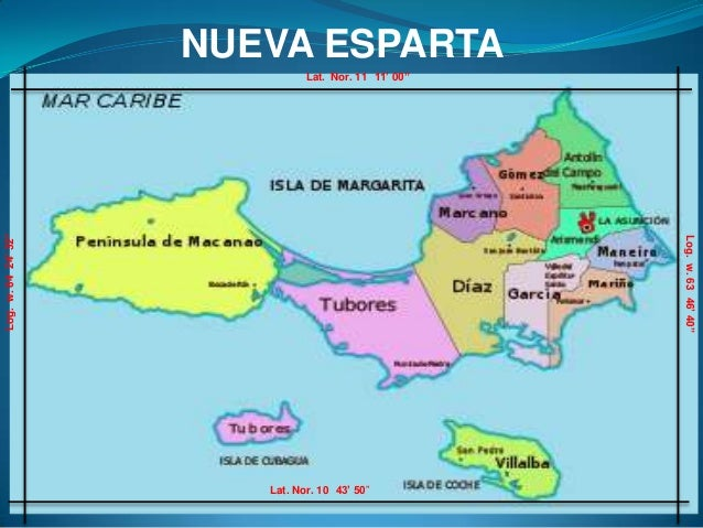 "NUEVA ESPARTA                               Lat. Nor. 11 11' 00""Log. w. 64 24' 32""                                        ..."