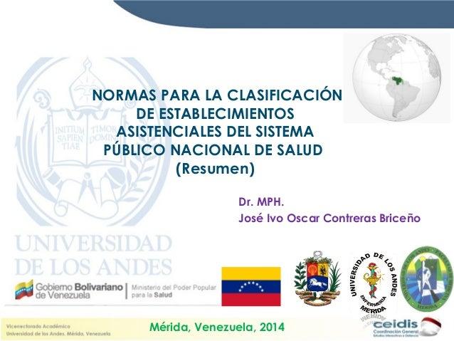 NORMAS PARA LA CLASIFICACIÓN DE ESTABLECIMIENTOS ASISTENCIALES DEL SISTEMA PÚBLICO NACIONAL DE SALUD (Resumen) Dr. MPH. Jo...