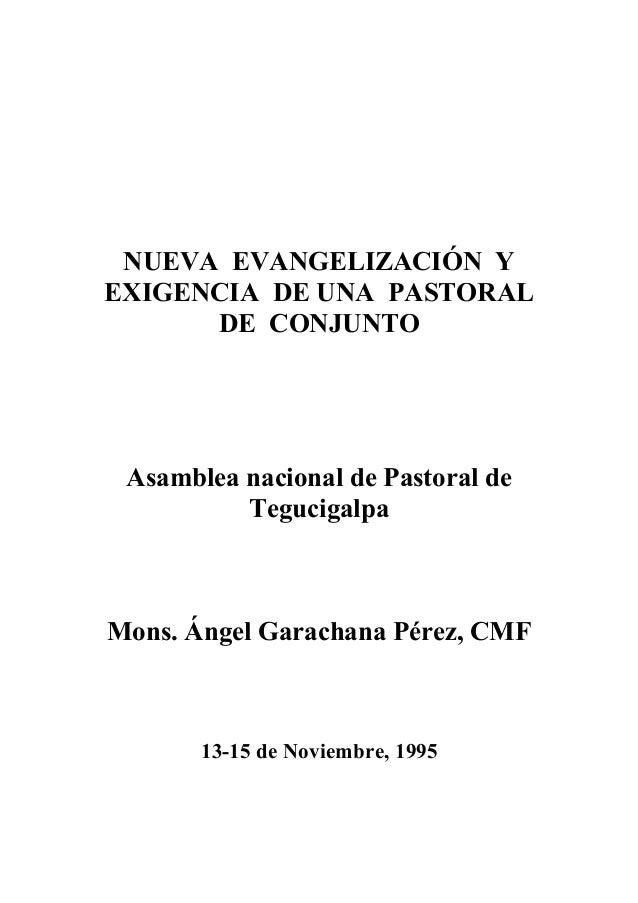 NUEVA EVANGELIZACIÓN Y EXIGENCIA DE UNA PASTORAL DE CONJUNTO  Asamblea nacional de Pastoral de Tegucigalpa  Mons. Ángel Ga...